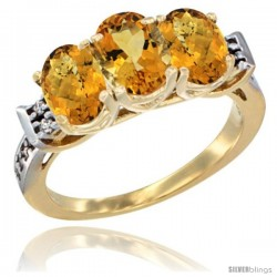 10K Yellow Gold Natural Citrine & Whisky Quartz Sides Ring 3-Stone Oval 7x5 mm Diamond Accent