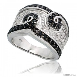 "Sterling Silver Swirls Band w/ Black & White CZ Stones, 1/2"" (12mm) wide"