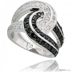 "Sterling Silver Love Knot Ring w/ Black & White CZ Stones, 5/8"" (16mm) wide"