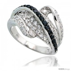 "Sterling Silver Wave Ring w/ Black & White CZ Stones, 9/16"" (15mm) wide"