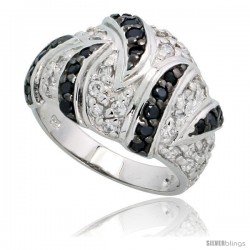 "Sterling Silver Dome Ring w/ Black & White CZ Stones, 9/16"" (14mm) wide"