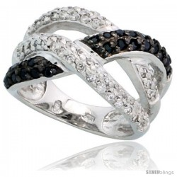 "Sterling Silver Braided Ring w/ Black & White CZ Stones, 1/2"" (12mm) wide"