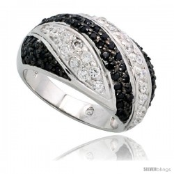 "Sterling Silver Striped Dome Ring w/ Black & White CZ Stones, 1/2"" (12mm) wide"