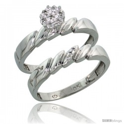 10k White Gold Diamond Engagement Rings Set 2-Piece 0.07 cttw Brilliant Cut, 5/32 in wide -Style Ljw011e2