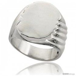Sterling Silver Large Oval Signet Ring Solid Back Handmade -Style Xr178