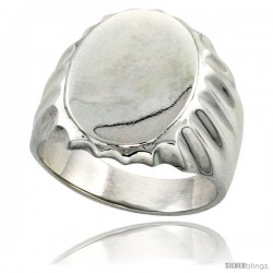 Sterling Silver Large Oval Signet Ring Solid Back Handmade -Style Xr177