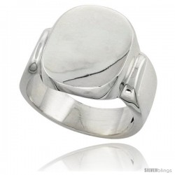 Sterling Silver Large Oval Signet Ring Solid Back Handmade -Style Xr180