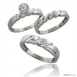 10k White Gold Diamond Trio Engagement Wedding Ring 3-piece Set for Him & Her 5 mm & 4 mm wide 0.10 cttw Bri -Style Ljw011w3