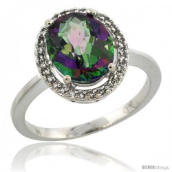 10k White Gold Diamond Halo Mystic Topaz Ring 2.4 carat Oval shape 10X8 mm, 1/2 in (12.5mm) wide