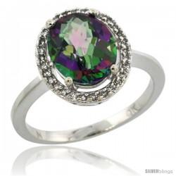 10k White Gold Diamond Halo Mystic Topaz Ring 2.4 carat Oval shape 10X8 mm, 1/2 in (12.5mm) wide