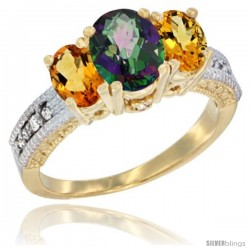 14k Yellow Gold Ladies Oval Natural Mystic Topaz 3-Stone Ring with Citrine Sides Diamond Accent
