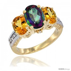 14K Yellow Gold Ladies 3-Stone Oval Natural Mystic Topaz Ring with Citrine Sides Diamond Accent