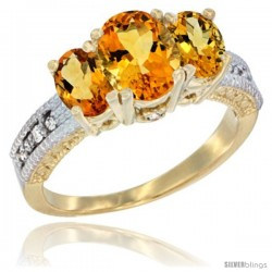 14k Yellow Gold Ladies Oval Natural Citrine 3-Stone Ring Diamond Accent