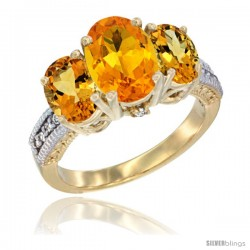 14K Yellow Gold Ladies 3-Stone Oval Natural Citrine Ring Diamond Accent