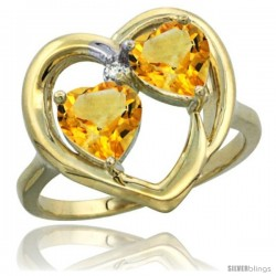 14k Yellow Gold 2-Stone Heart Ring 6mm Natural Citrine Stones Diamond Accent