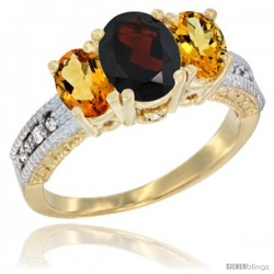 14k Yellow Gold Ladies Oval Natural Garnet 3-Stone Ring with Citrine Sides Diamond Accent