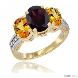 14K Yellow Gold Ladies 3-Stone Oval Natural Garnet Ring with Citrine Sides Diamond Accent