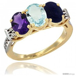 10K Yellow Gold Natural Amethyst, Aquamarine & Lapis Ring 3-Stone Oval 7x5 mm Diamond Accent