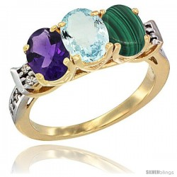 10K Yellow Gold Natural Amethyst, Aquamarine & Malachite Ring 3-Stone Oval 7x5 mm Diamond Accent