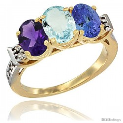 10K Yellow Gold Natural Amethyst, Aquamarine & Tanzanite Ring 3-Stone Oval 7x5 mm Diamond Accent