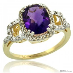 10k Yellow Gold Diamond Amethyst Ring 2 ct Checkerboard Cut Cushion Shape 9x7 mm, 1/2 in wide