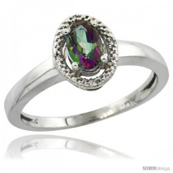 10k White Gold Diamond Halo Mystic Topaz Ring 0.75 Carat Oval Shape 6X4 mm, 3/8 in (9mm) wide