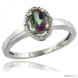 10k White Gold Diamond Halo Mystic Topaz Ring 0.75 Carat Oval Shape 6X4 mm, 3/8 in (9mm) wide