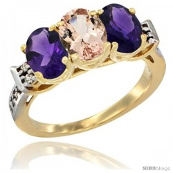 10K Yellow Gold Natural Morganite & Amethyst Sides Ring 3-Stone Oval 7x5 mm Diamond Accent