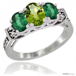 14K White Gold Natural Peridot & Emerald Ring 3-Stone Oval with Diamond Accent