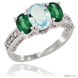 14k White Gold Ladies Oval Natural Aquamarine 3-Stone Ring with Emerald Sides Diamond Accent