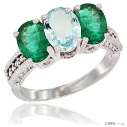 14K White Gold Natural Aquamarine & Emerald Sides Ring 3-Stone 7x5 mm Oval Diamond Accent
