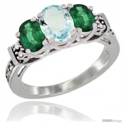 14K White Gold Natural Aquamarine & Emerald Ring 3-Stone Oval with Diamond Accent