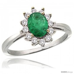 14k White Gold Diamond Halo Emerald Ring 0.85 ct Oval Stone 7x5 mm, 1/2 in wide