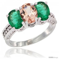 14K White Gold Natural Morganite & Emerald Sides Ring 3-Stone 7x5 mm Oval Diamond Accent