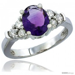 10K White Gold Natural Amethyst Ring Oval 9x7 Stone Diamond Accent