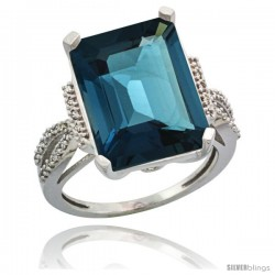 14k White Gold Diamond London Blue Topaz Ring 12 ct Emerald Shape 16x12 Stone 3/4 in wide
