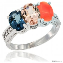 14K White Gold Natural London Blue Topaz, Morganite & Coral Ring 3-Stone 7x5 mm Oval Diamond Accent