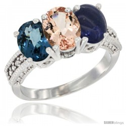 14K White Gold Natural London Blue Topaz, Morganite & Lapis Ring 3-Stone 7x5 mm Oval Diamond Accent