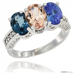 14K White Gold Natural London Blue Topaz, Morganite & Tanzanite Ring 3-Stone 7x5 mm Oval Diamond Accent