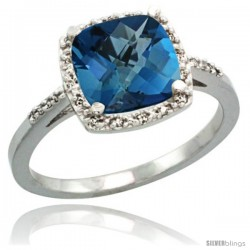 14k White Gold Diamond London Blue Topaz Ring 2.08 ct Cushion cut 8 mm Stone 1/2 in wide