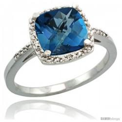 14k White Gold Diamond London Blue Topaz Ring 2.08 ct Cushion cut 8 mm Stone 1/2 in wide