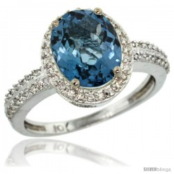 14k White Gold Diamond London Blue Topaz Ring Oval Stone 10x8 mm 2.4 ct 1/2 in wide