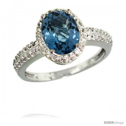 14k White Gold Diamond London Blue Topaz Ring Oval Stone 9x7 mm 1.76 ct 1/2 in wide