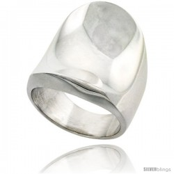 Sterling Silver Long Cigar Band Ring Polished finish, 1 1/8 in long