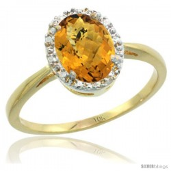 10k Yellow Gold whisky Quartz Diamond Halo Ring 8X6 mm Oval Shape, 1/2 in wide