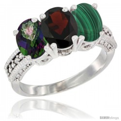 10K White Gold Natural Mystic Topaz, Garnet & Malachite Ring 3-Stone Oval 7x5 mm Diamond Accent