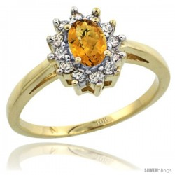 10k Yellow Gold whisky Quartz Diamond Halo Ring Oval Shape 1.2 Carat 6X4 mm, 1/2 in wide