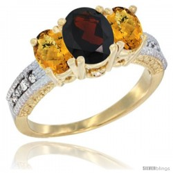 10K Yellow Gold Ladies Oval Natural Garnet 3-Stone Ring with Whisky Quartz Sides Diamond Accent
