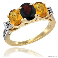 10K Yellow Gold Natural Garnet & Whisky Quartz Sides Ring 3-Stone Oval 7x5 mm Diamond Accent