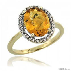 10k Yellow Gold Diamond Halo whisky Quartz Ring 2.4 carat Oval shape 10X8 mm, 1/2 in (12.5mm) wide